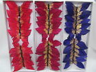 12 x Butterflies 13cm Wired Blue, Red or Burgundy