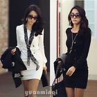 Korea Women Sexy Round Neck Long Sleeve Mini Dress #096