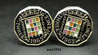 British enamelled coin cufflinks  3 pence choice of year 1953-1967