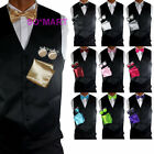 Mens Tuxedo Vest Waistcoat Bowtie Hanky Cufflinks set 10 Solid Plain Colours