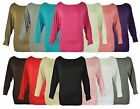 NEW LADIES PLUS SIZE LONG SLEEVED BATWING WOMENS STRETCH PLAIN TOP 14 - 18