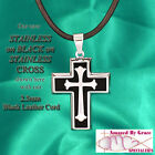 Stainless Silver & Black Inlay Cross choice of SST Chain or Leather Cord