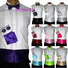 Men Wedding Tuxedo Bowtie Bow tie Cummerbund Hanky Cufflinks set SOLID 10 COLOUR