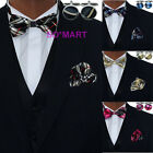 Mens Tuxedo Bowtie Hanky Cufflinks set 4 Colours Black Blue Pink Gold Checked