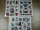 LARGE SHEET GIRLS TEMPORARY TATTOOS 10-15 RED ROSE FLOWERS HEARTS DAGGER GLITTER