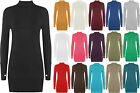 Ladies Stretch BodyCon Polo Long Sleeve Top Womens Thumb Hole Short Dress 8-14