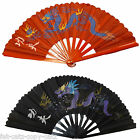 LARGE WOOD BURLESQUE CHINESE COTTON DECORATIVE ORNAMENTAL FANCY DRESS FAN DRAGON