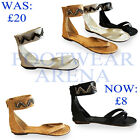 New Ladies Roman Gladiator Flat Ankle Strap Toe Post Sandals Size UK 3 4 5 6 7 8
