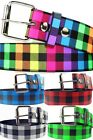 CHECKERED Punk MEN WOMEN belts Faux Leather Multi-Color Design