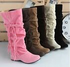 Womens Fashion Faux Suede Slouchy Boho Fringe Mid Calf Boots Shoes #71