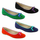 New Ladies Flat Dolly Ballerina Faux Suede Bow Flat Pumps Sizes UK 3 4 5 6 7 8