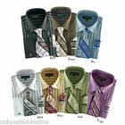 Men's Classic George Dress Shirt with Matching Tie and Handkerchief 601