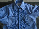 BOYS GIRLS BLUE TUXEDO SHIRT / RUFFLES WITH TRIM  / US MADE / 70'S VINTAGE