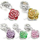 Wholesale Lot 10pcs Rose Flower Silver Dangle European Charm Beads For Bracelet
