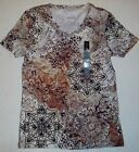 Nicole Miller Floral Print Short Sleeve Rhinestone Accents Soft Tee