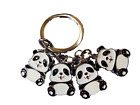 4 PIECE CUTE BLACK & WHITE PANDA BEAR METAL KEYRING HANDBAG CHARM UK SELLER