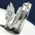 1.28 CT Solitaire CZ Engagement Sterling Silver Wedding Stainless Steel Ring Set