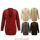 LADIES CABLE KNITTED GRANDAD STYLE WOMENS CARDIGAN TOP