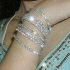 Wedding Bridal Crystal Rhinestone Stretch Bracelet Bangles Womens Jewellery