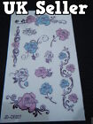1 x SHEET LADIES TEMPORARY TATTOOS GLITTER BLING ARTY PINK BLUE FLOWERS ROSES UK
