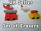 SET OF 4 PUZZLE CARS PLANES HELICOPTER FIRE ENGINE KOREAN NOVELTY ERASERS RUBBER