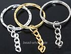 10pcs silver/golden metal key ring chain findings 30mm u pick colour