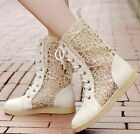 Womens Ladies Trendy Transparent Lace Up Cut Out Flat Ankle Boots Shoes #626