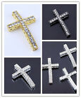 5/10/20Pcs Curved Side Ways Crystal Cross Bracelet Connector Charm Beads 24*36mm