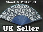 CHINESE GEISHA FANCY DRESS BURLESQUE COSTUME BLUE WOOD & COTTON FLOWER FAN 32cm