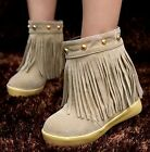 Ladies Womens Trendy Faux Suede Fringe Pull On Flat Casual Ankle Boots Shoes #20