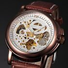 KS LEATHER STRAP 42MM ANALOG SPORT WRIST MEN SKELETON AUTOMATIC MECHANICAL WATCH