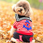 Pet Dog Puppy Spring Summer change to sailor candy strip Costume Clothes Coats