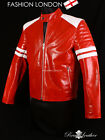 FIGHT CLUB Project Mayhem Red Men's Movie Film Real Leather Cafe Racer Jacket