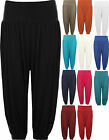 New Womens Plus Size Cropped Harem Trousers Ladies 3/4 Plain Baggy Pants 12 - 26