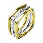 Titanium Wedding Ring IP Gold Plated Multi CZ Stones 11mm Width Band Ring R133
