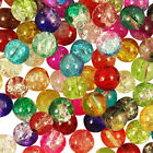 Mixed Coloured GLASS CRACKLE Round BEADS - Choose 4mm, 6mm & 8mm