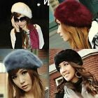 Women'S Elegant Multicolor Artist Rabbit Fur Lapin Newsboy Beanie Beret Hat
