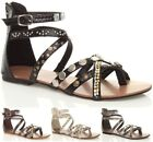 WOMENS LADIES FLAT GLADIATOR STUDDED TOE POST STRAPPY TRIBAL SANDALS SIZE 3 - 8