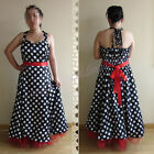 50's Black W/ White Polka Dot Retro Rockabilly Swing Prom Vintage Dress UK 8-26