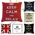 """KEEP CALM CARRY ON / RELAX Chenille Filled Cushions or Cushion Covers- 18"""" /45cm"""