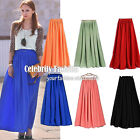 sk50N Celeb Style Pastel Flowy Volume Candy Coloured Pleated Maxi Long Skirt