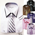 Men's Classic French Cuff Dress Shirt set w/ tie and handkerchief style-214