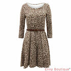 LADIES LEOPARD PRINT WOMENS 3/4 SLEEVE TAILORED DRESS SKATER PARTY TOP SIZE 8-16