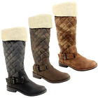 WOMENS FUR TRIM KNEE TALL QUILTED RIDING BOOTS LADIES NEW 3-8