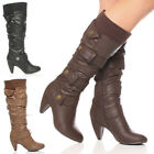 WOMENS LADIES KNEE MID HEEL ROUND TOE BUCKLE ZIP CALF KNITTED BOOTS SIZE