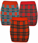 Womens Red Checked Knitted Mini Skirt Stretch Fit Ladies Brand New Sz 8-14