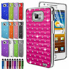Diamante Bling Chrome Case Cover For Samsung Galaxy S2 i9100 & Screen Protector