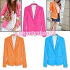CANDY COLOR WOMENS CASUAL LAPEL ONE BUTTON SUITS BLAZER OUTERWEAR COATS JACKET