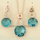 A1-S057 Fashion Simulated Stone 18K GP Earrings Necklace Set Swarovski Crystal