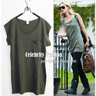 tp60 Celebrity Style Cotton Loose Fit Military Army Green Long Top Raw Edge